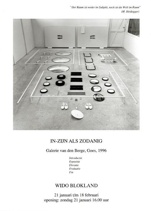 In-zijn als zodanig-invitation card installation Gallery VdB NL-1996